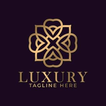 Luxe mandala en gouden sier logo ontwerpsjabloon voor branding van de huisstijl