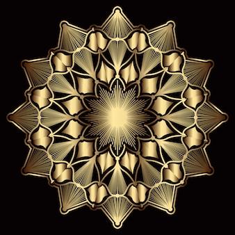 Luxe mandala-kunst met gouden arabesk