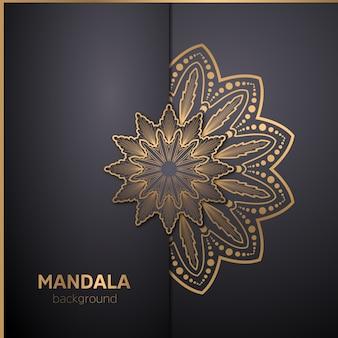 Luxe mandala kunst met gouden arabesque achtergrond oosterse oost-stijl