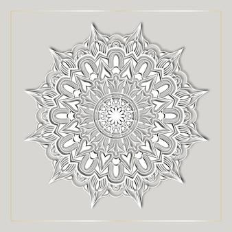 Luxe mandala kunst met witte arabesque achtergrond