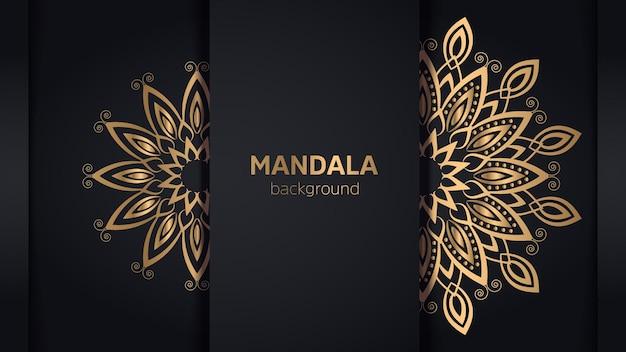 Luxe mandala-ontwerpachtergrond in gouden kleur