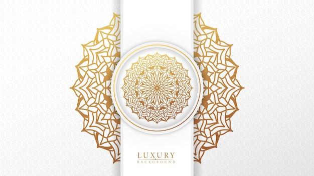Luxe mandala witte achtergrond met arabesk patroon arabische islamitische stijl
