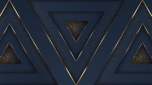 Luxe marineblauw gouden abstracte achtergrond met overlappende laag