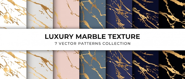 Luxe marmeren textuur patroon collectie premium vector