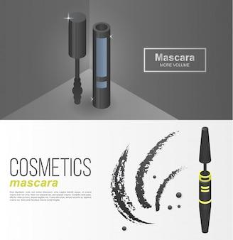 Luxe mascara banner set, isometrische stijl