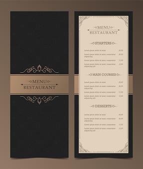 Luxe menu-indeling met decoratieve elementen.