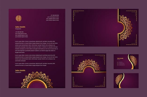 Luxe merkidentiteit of stationaire ontwerpsjabloon met luxe decoratieve mandala arabesque, visitekaartje, briefhoofd