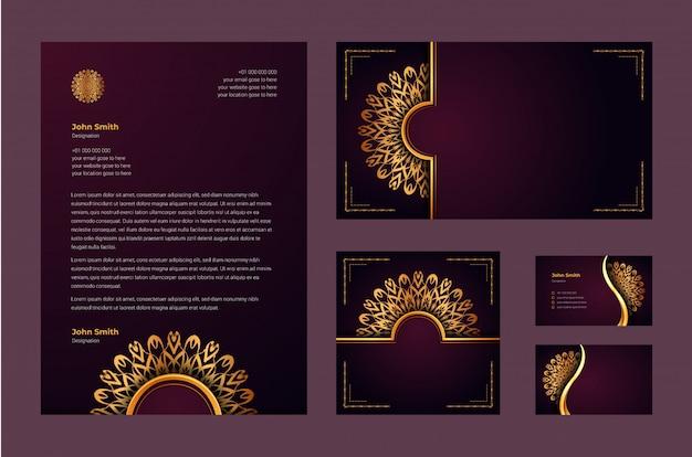 Luxe merkidentiteit of stationaire ontwerpsjabloon met luxe decoratieve mandala