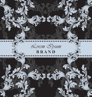 Luxe merkkaart met barok ornamentdecor. handgemaakte sjablonen
