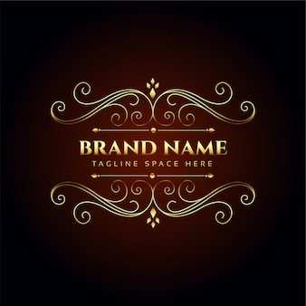 Luxe merknaam gouden bloemen logo conceptontwerp