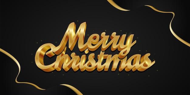 Luxe merry christmas belettering in 3d gold effect en zwarte en gouden achtergrond. vrolijk kerstontwerp voor spandoek, poster of wenskaart