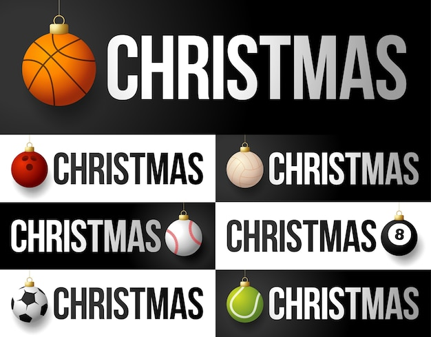 Luxe merry christmas sport horizontale banner