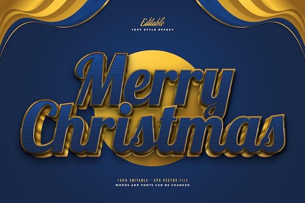 Luxe merry christmas-tekst in blauwe en gouden stijl met 3d-effect. bewerkbaar tekststijleffect