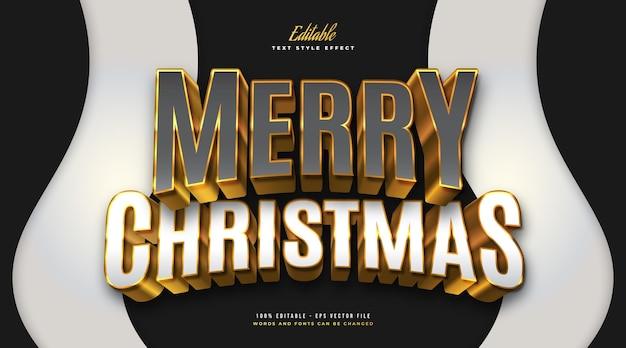 Luxe merry christmas-tekst in grijs, wit en goud met 3d-effect. bewerkbaar tekststijleffect