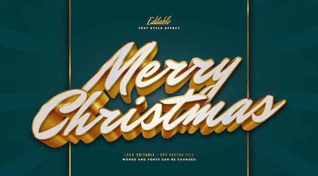 Luxe merry christmas-tekst in witte en gouden stijl met 3d-effect. bewerkbaar tekststijleffect