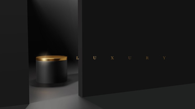 Luxe minimale zwarte en gouden podiumscène voor productpresentatie. plaatsing van professionele productdisplays