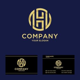 Luxe monogram beginletter h-logo voor het opstarten van een bedrijf en bedrijf