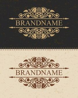 Luxe monogram logo sjabloon met bloeit kalligrafische elegante ornament-elementen.