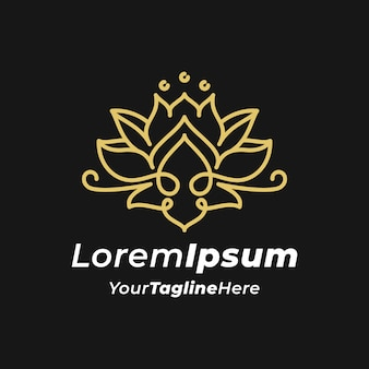 Luxe monogram lotusbloem logo sjabloon