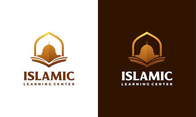 Luxe moslim leren logo, islam leren logo sjabloon, vectorillustratie