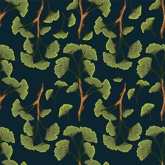 Luxe naadloze patroon van ginkgo bladeren. stof, textiel