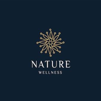 Luxe natuur bloemen blad ornament logo pictogram ontwerp sjabloon goud elegant beauty spa vector