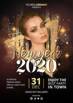Luxe nieuwjaarsfeest poster sjabloon