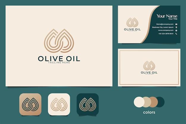 Luxe olijfolie logo-ontwerp en visitekaartje