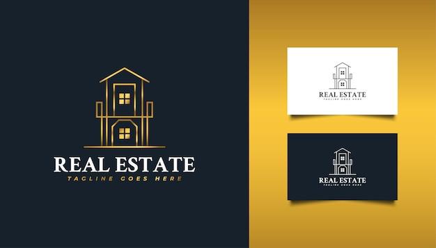 Luxe onroerend goed-logo met lijnstijl in goudverloop. bouw-, architectuur-, gebouw- of huislogo