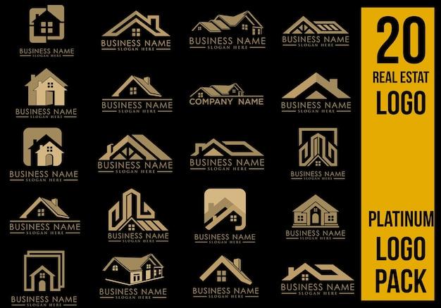 Luxe onroerend goed logo set