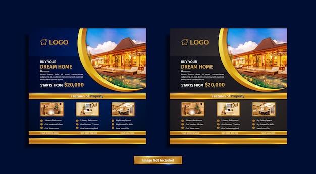 Luxe onroerend goed social media postontwerp met blauwe en gouden kleurvormen, lichten en eigendomsinformatie.
