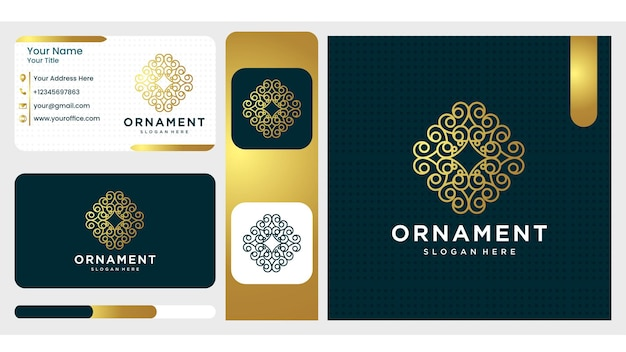 Luxe ornament logo ontwerp.