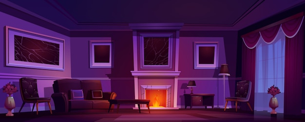 Luxe oude woonkamer donkere interieur open haard