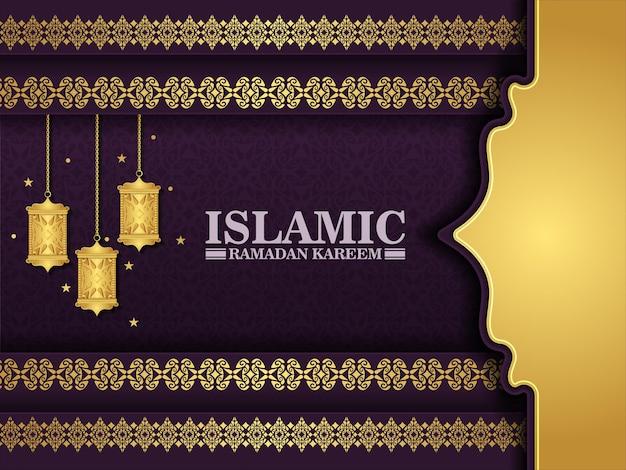 Luxe paarse ramadan kareem achtergrond