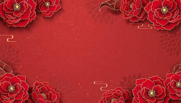 Luxe peony frame achtergrond in papier kunststijl
