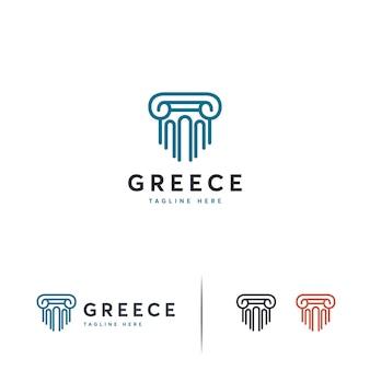 Luxe pijler logo ontwerpen sjabloon, advocatenkantoor logo