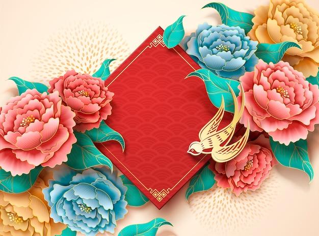 Luxe pioenroos en gouden zwaluw papier kunst achtergrond
