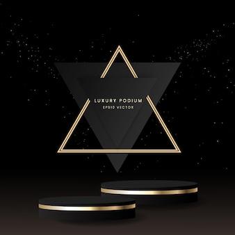 Luxe podium met zwart en goud