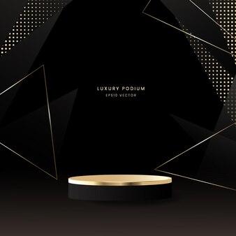 Luxe podium met zwarte en gouden achtergrond