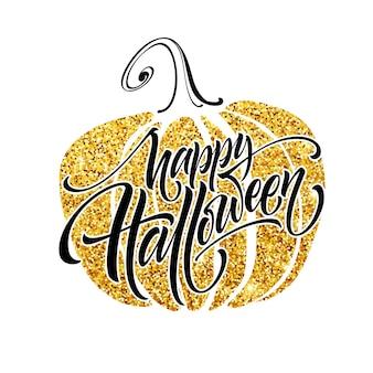 Luxe poster over halloween met pompoen en kalligrafie belettering. vectorillustratie eps10