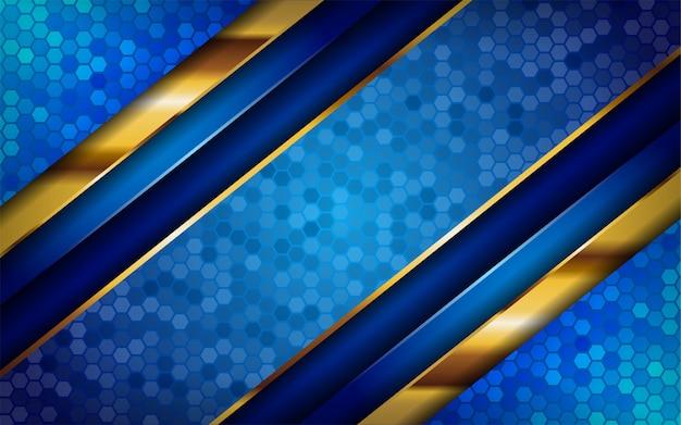 Luxe premium blauwe abstracte achtergrond met gouden lijnen.