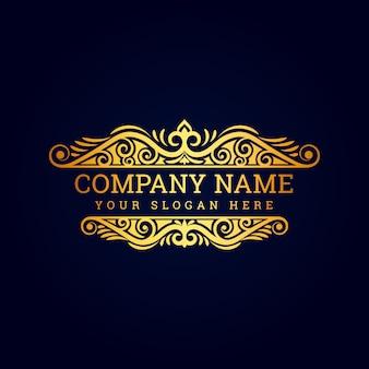 Luxe premium koninklijk logo met gouden ornament