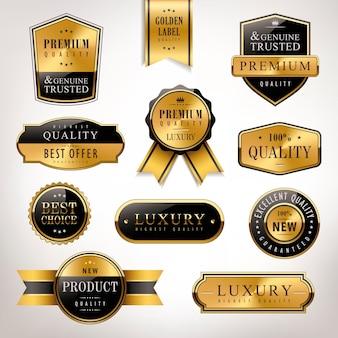 Luxe premium kwaliteit gouden labels collectie over parelwitte achtergrond