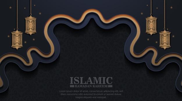 Luxe ramadan kareem-banner in zwarte en gouden stijl