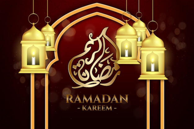 Luxe ramadan kareem gouden lantaarn achtergrondkleur rood en zwart
