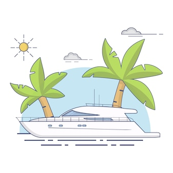 Luxe reizen zeeweg jacht schip tropisch eiland palmbomen