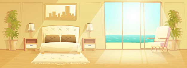 Luxe resort hotelkamer interieur cartoon vector
