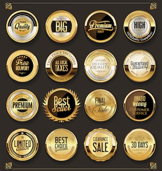 Luxe retro badges goud en zilver collectie