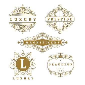 Luxe retro logo set