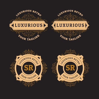 Luxe retro logo set